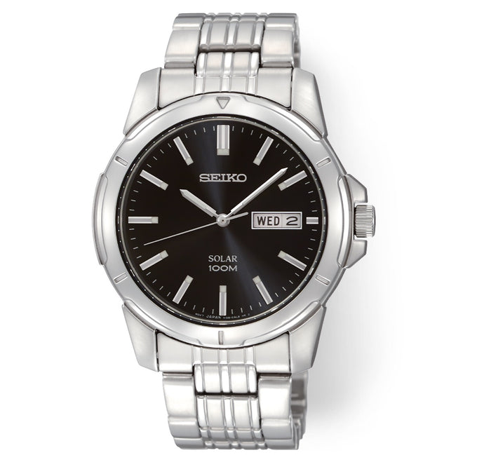 Men's Silver-Tone Black Dial Solar Seiko Watch