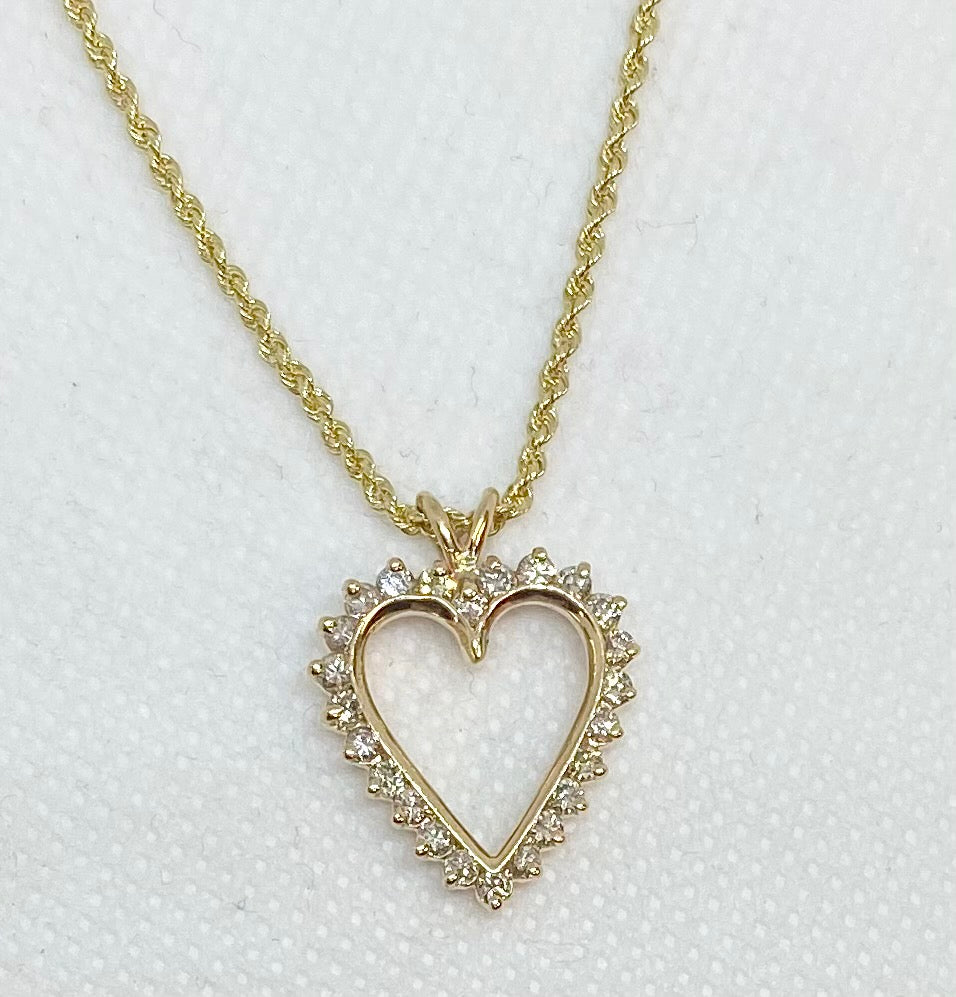 Diamond Heart Necklace with Rope Chain