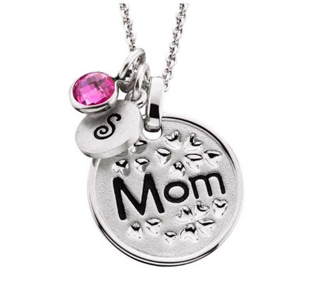 Silver Floral Mom Pendant Necklace