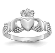 Load image into Gallery viewer, 14k White Gold Ladies Claddagh Ring