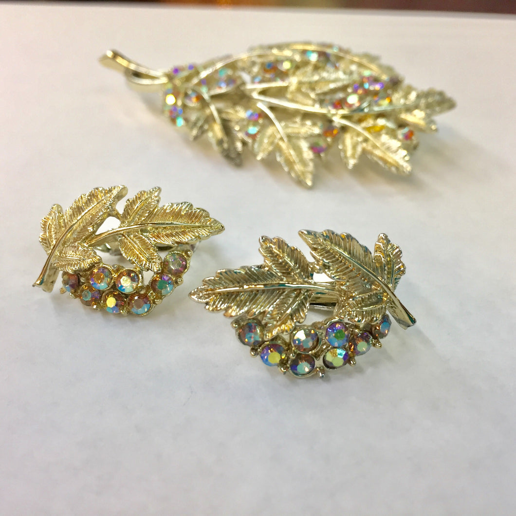 Iridescent Rhinestone Brooch and Earring Set