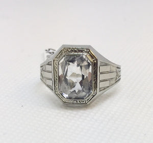 Man's White Spinel Fashion Ring