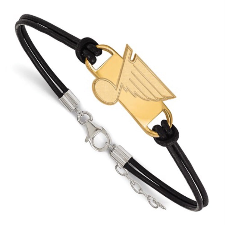 St. Louis Blues Leather Cord Gold Plated Bracelet