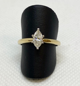 Meaningful 14K Yellow Gold Marquise Solitaire Engagement Ring