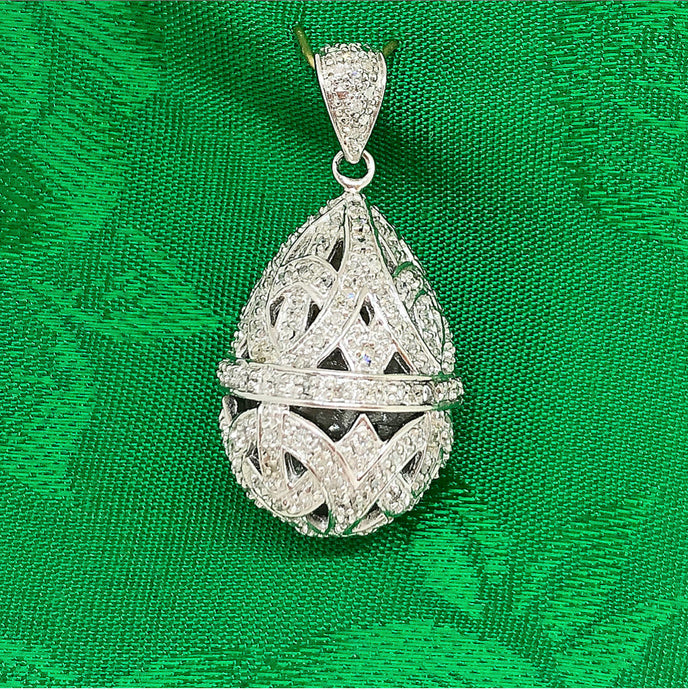Silver and Diamond Egg Pendant