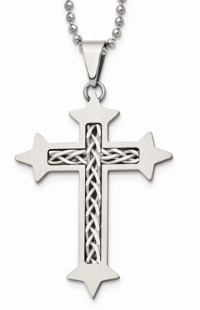 Stainless Steel with Sterling Silver Inlay Cross Necklace