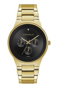 Men's Black & Gold tone Caravelle Watch
