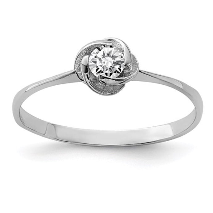 Sterling Silver & CZ Rose Ring