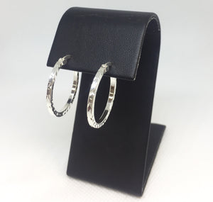 Round Silver Diamond-Cut Hoop Earrings