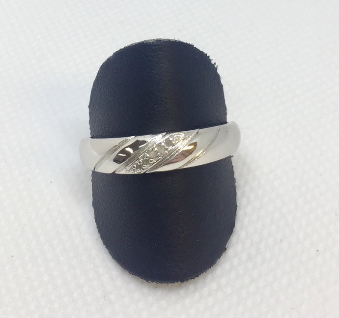 Men's Silver & Diamond Wedding Band