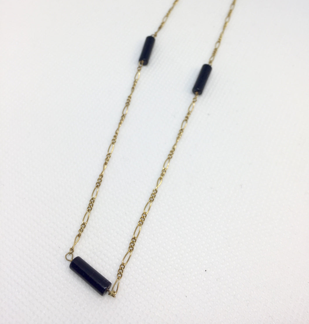 14k Gold and Onyx Chain Necklace