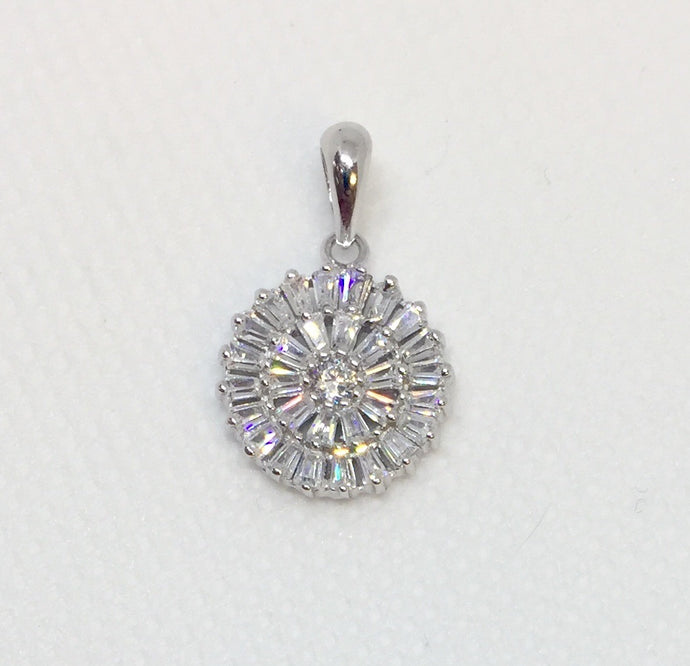 CZ and Silver Baguette Pendant