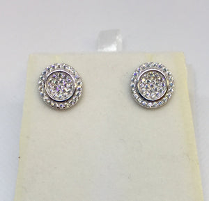 Silver and CZ Cluster Earrings
