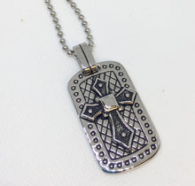 Load image into Gallery viewer, Men's Stainless Steel Dog Tag Cross Necklace
