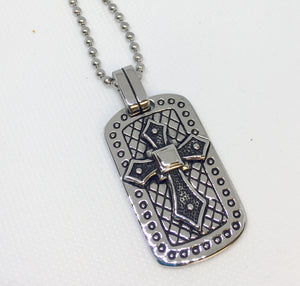 Men's Stainless Steel Dog Tag Cross Necklace