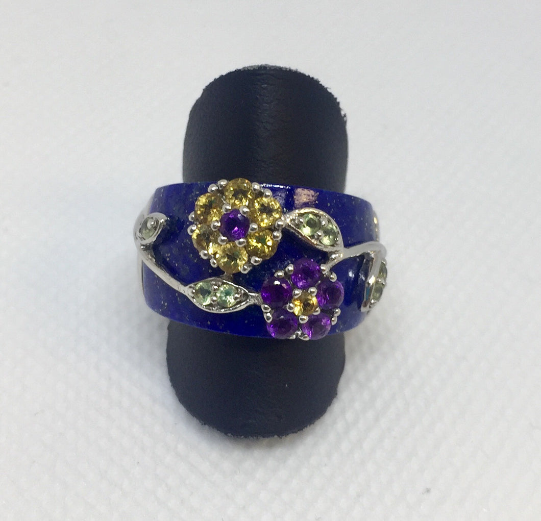 Lapis and Gemstone Silver Ring