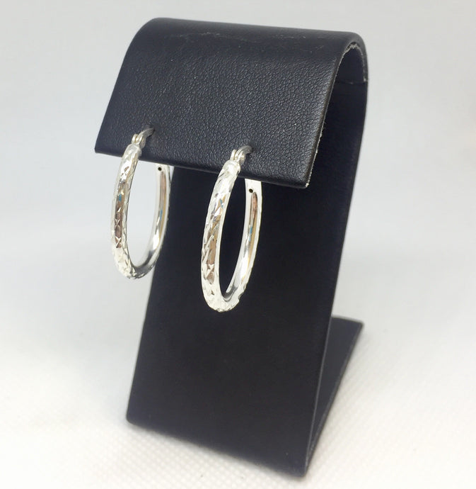 Oval Diamond-Cut Silver Hoop Earrings
