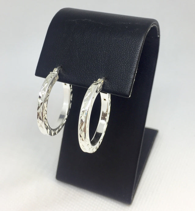Round Diamond-Cut Hoop Earrings