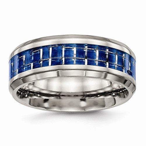 Titanium Polished Blue/White Carbon Fiber Inlay Ring