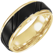 Load image into Gallery viewer, Men's Black & 18k Yellow Gold-Plated Tungsten Wedding Band