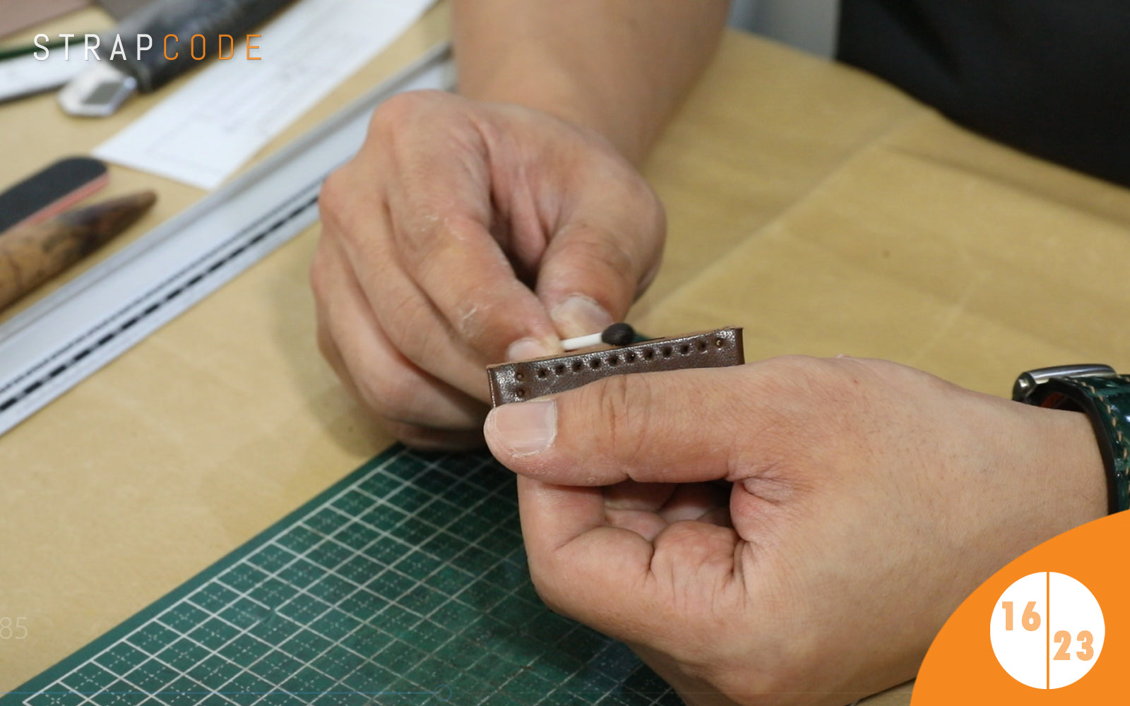 step 16 - handmade leather watch band by strapcode watch bands
