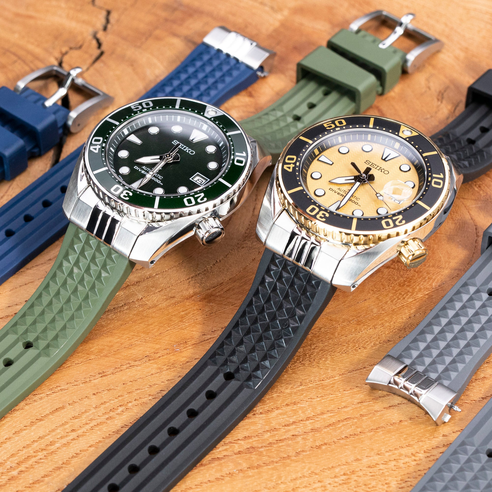 Chaffle Waffle rubber watch bands from Strapcode