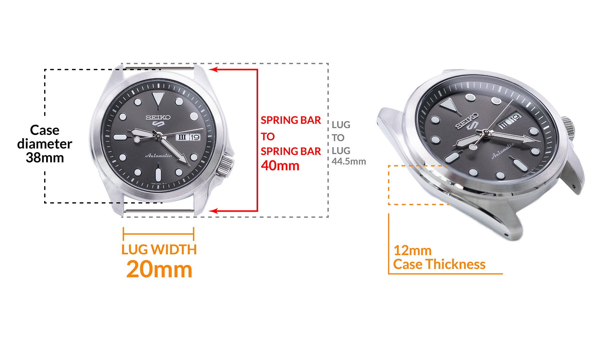 Seiko 5 40mm - Details Seiko watch size, Lug width and case dimensions