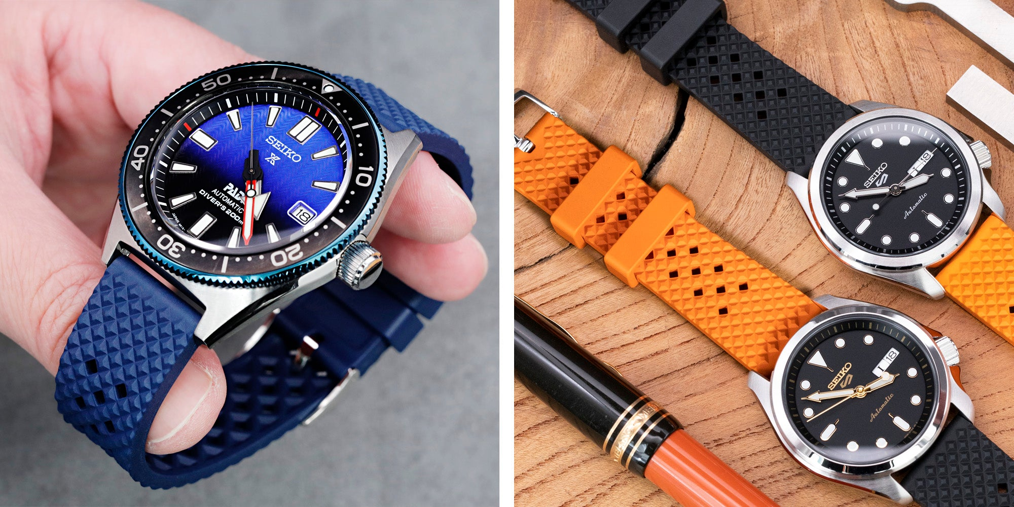 Rhombus rubber watch bands by Strapcode