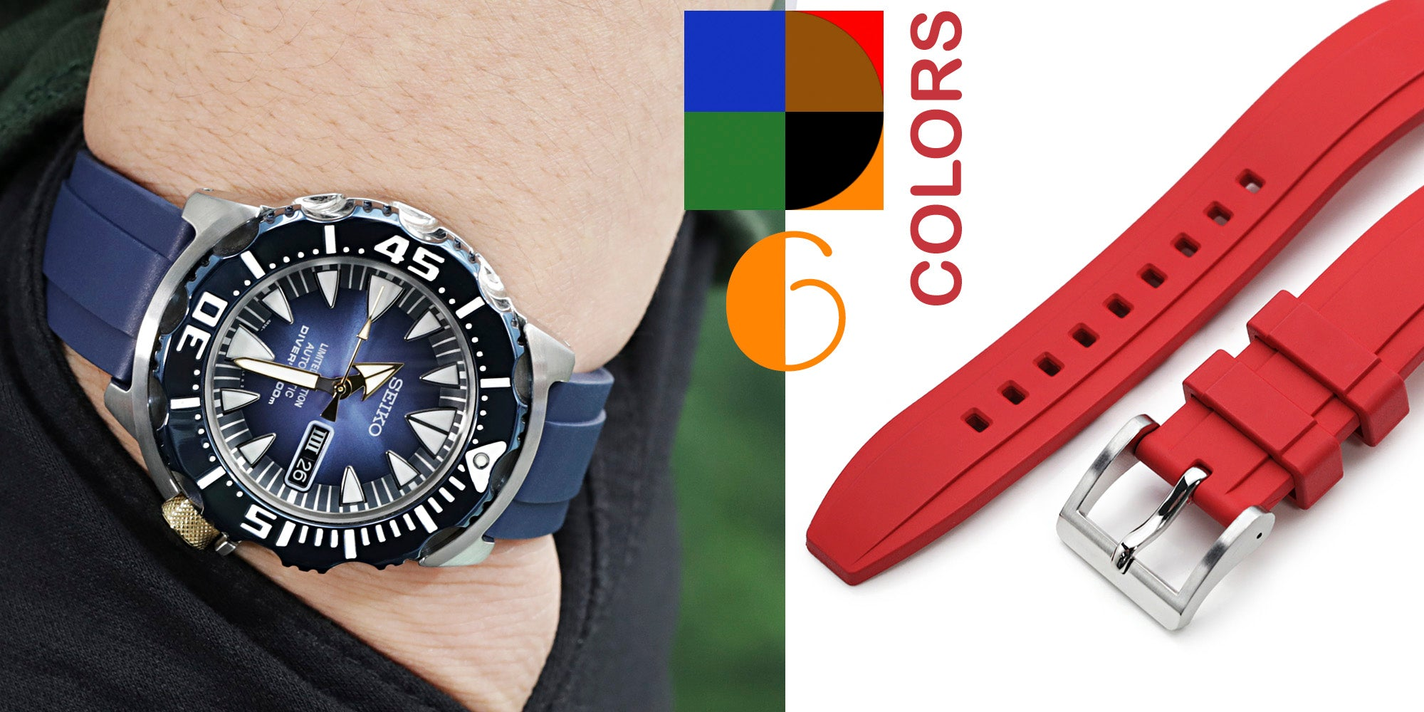 FKM08 rubber watch bands by Strapcode