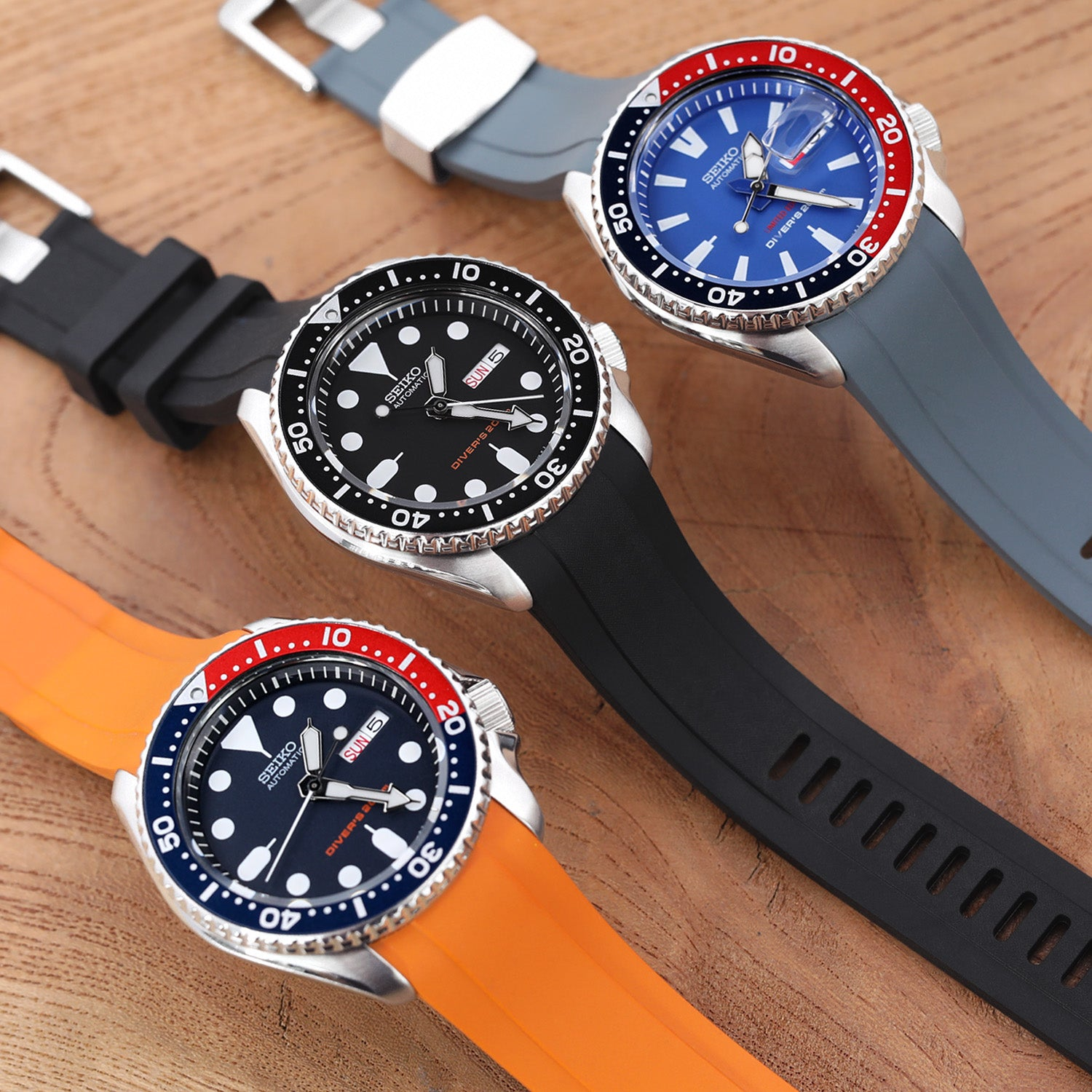 Seiko SKX curved end rubber strap by Crafter Blue   Strapcode watch bands