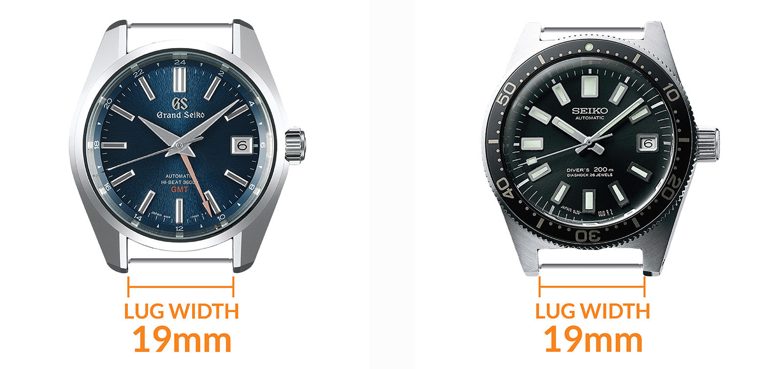 odd number 19mm lug watches : Grand-Seiko-SBGJ23 GMT and Seiko-SLA017