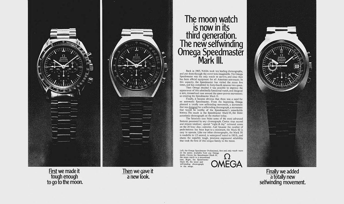 Omega moon watch 3 generations, from Left : Speedmaster Mark 1 Mark 2 & Mark 3 vintage advertisement