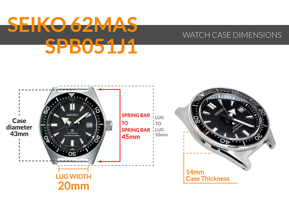Seiko 62MAS SPB051J1 - Details watch case measurement and dimensions