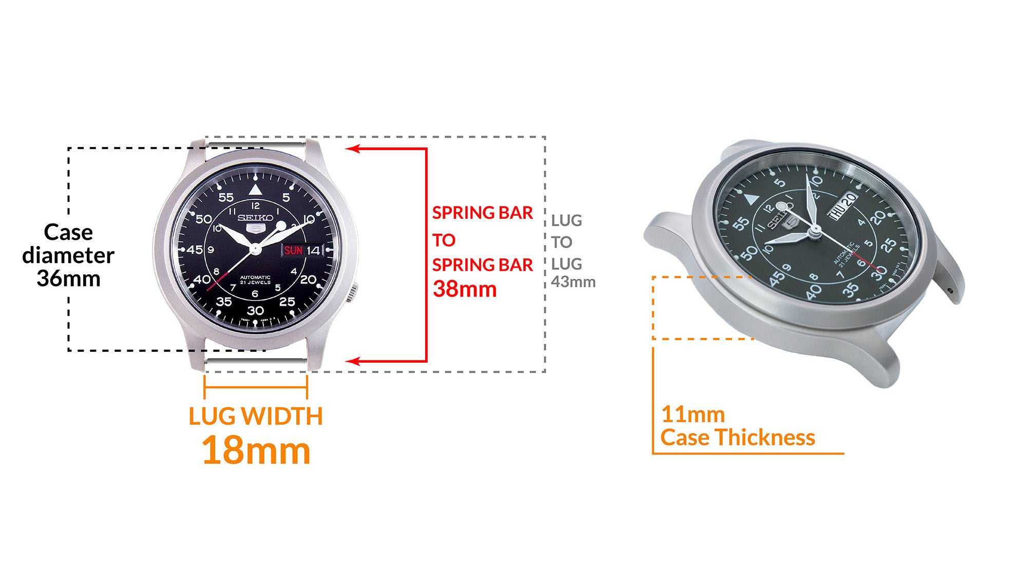 Seiko 5 Sports automatic SNK809 - Details Seiko watch size, Lug width and case dimensions