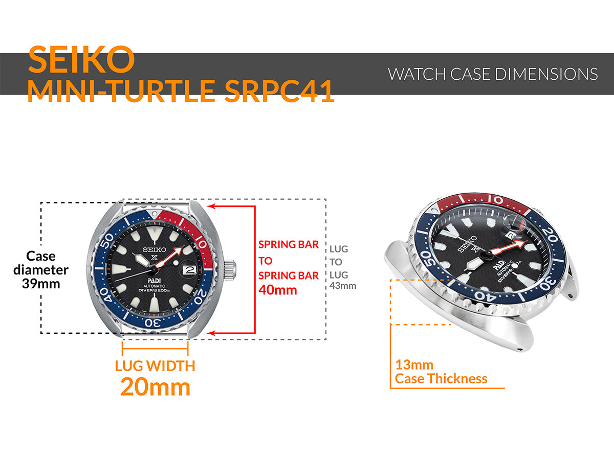 Seiko-Mini-Turtle-SRPC41 - Details watch case measurement and dimensions
