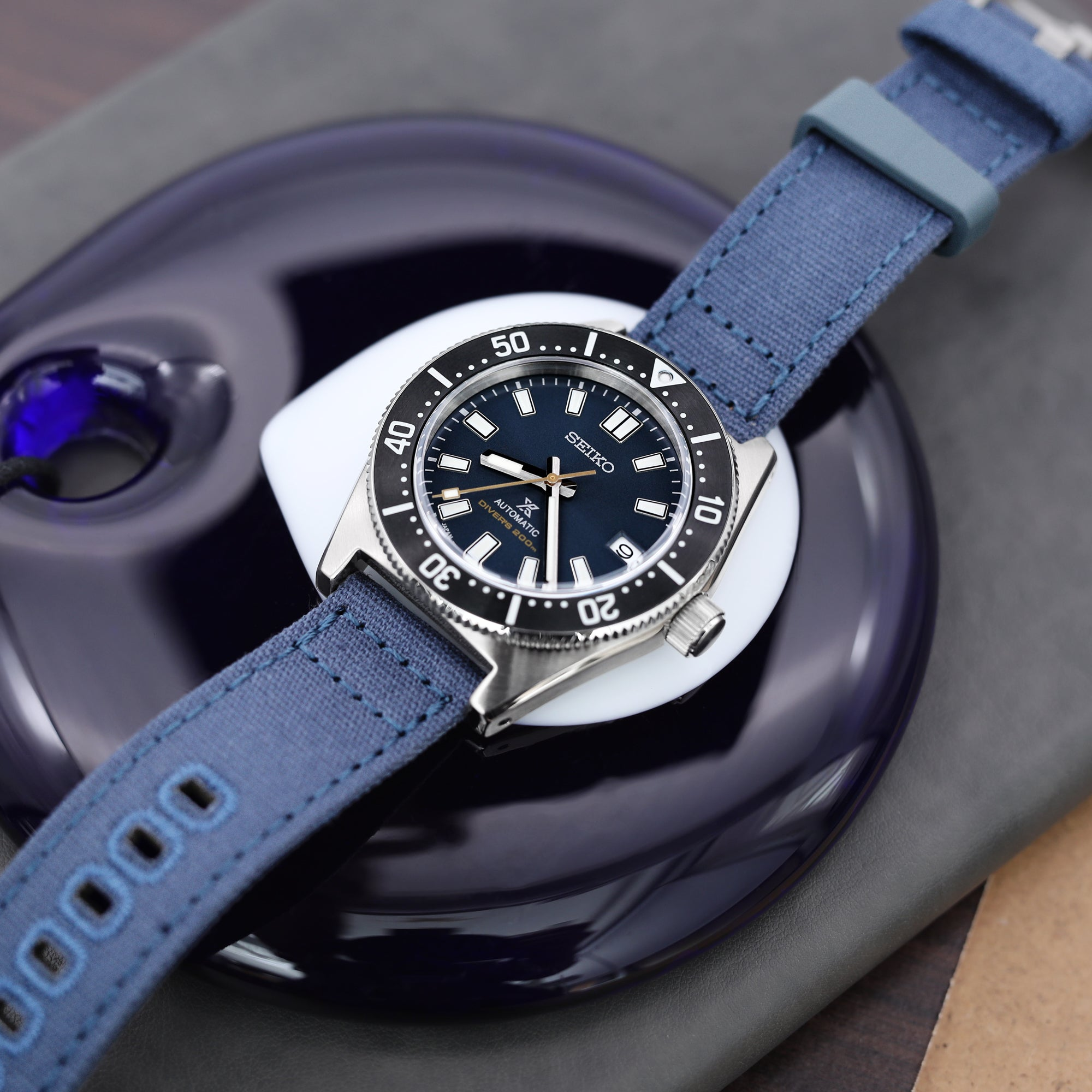 Navy Blue Quick Release Canvas Watch Strap, 22mm or 20mm