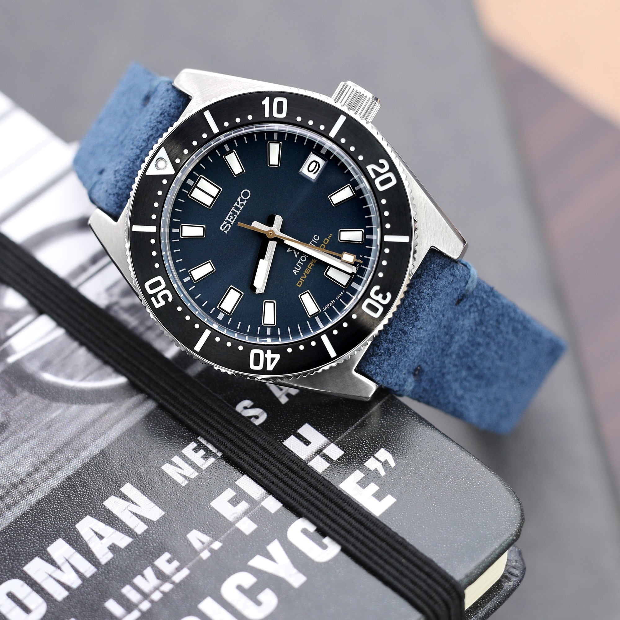 20mm Blue Quick Release Italian Suede Leather Watch Strap, Blue St.