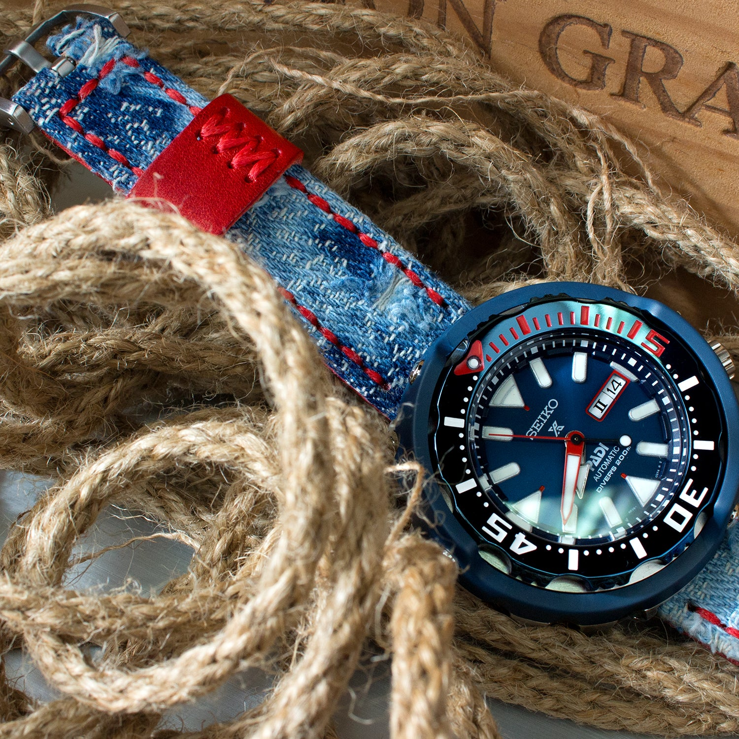 Seiko Prospex PADI Tuna SRPA83 Ceramic 200m paired with Denim watch bands