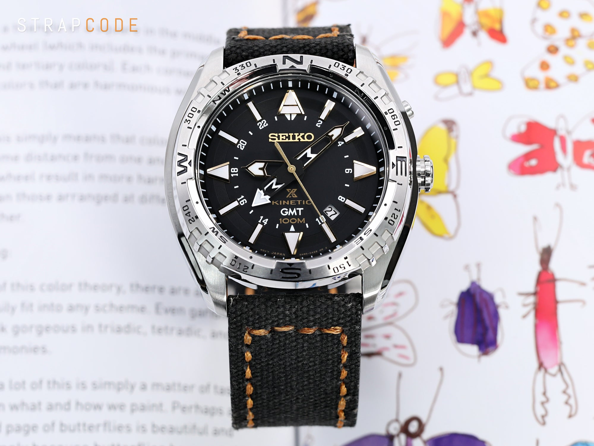 24mm MiLTAT Black Leather Washed Canvas Ammo Watch Strap in Golden Brown Stitches