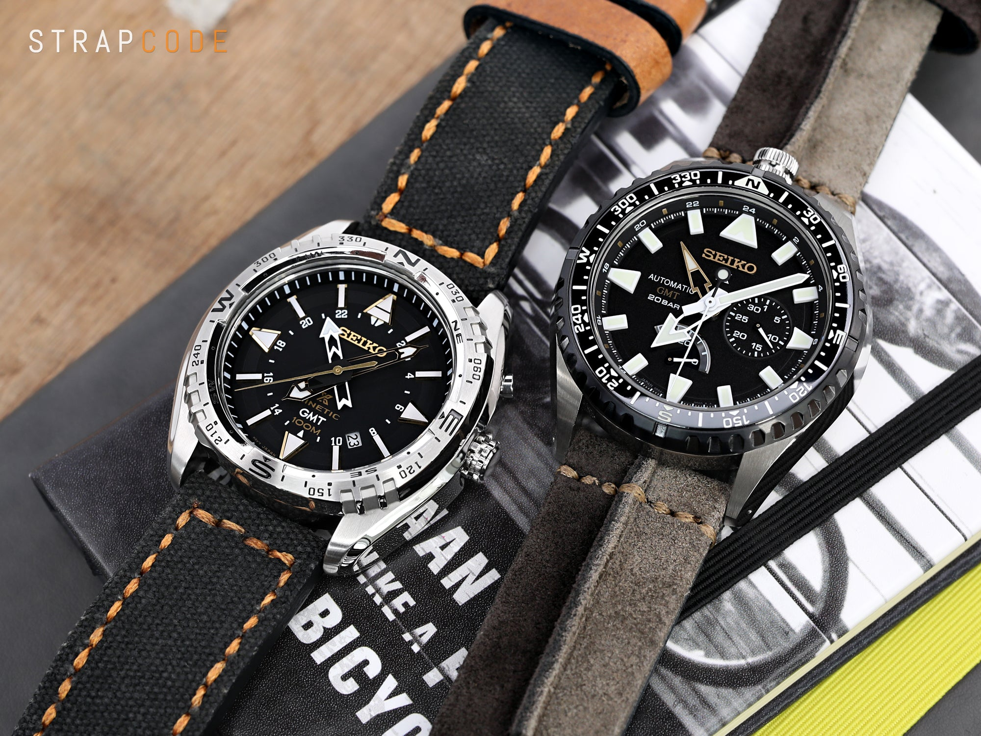 MiLTAT Black Leather Washed Canvas Ammo Watch Strap