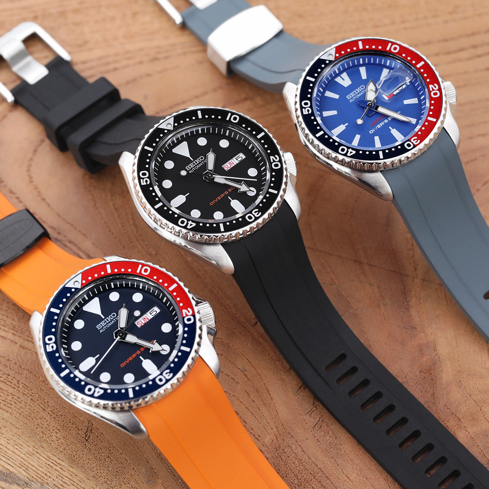 seiko skx007 rubber strap replacement by Crafter Blue