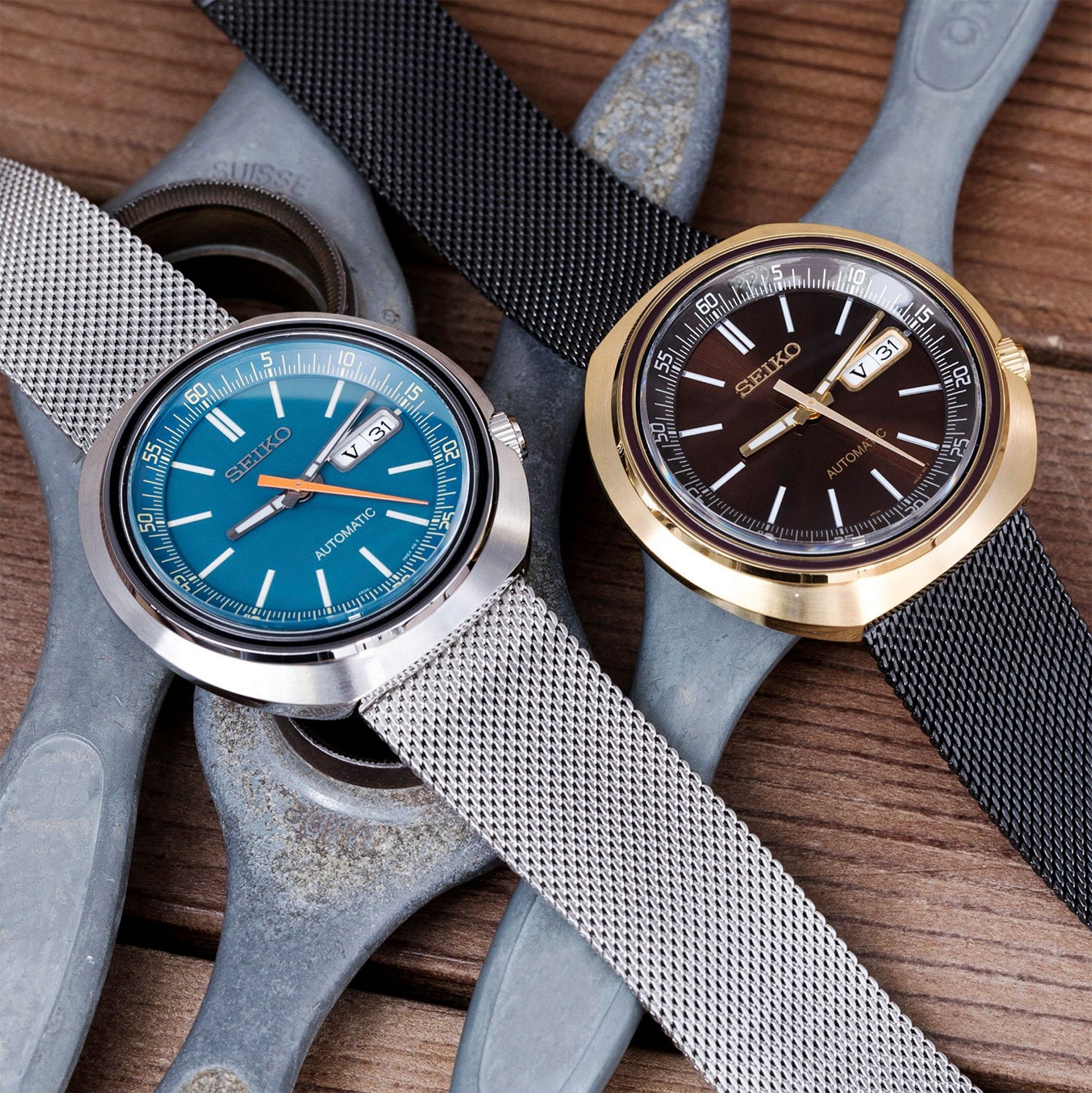 Seiko Recraft SRPC13K1 Blue & SRPC16K1 Gold Cushion Case