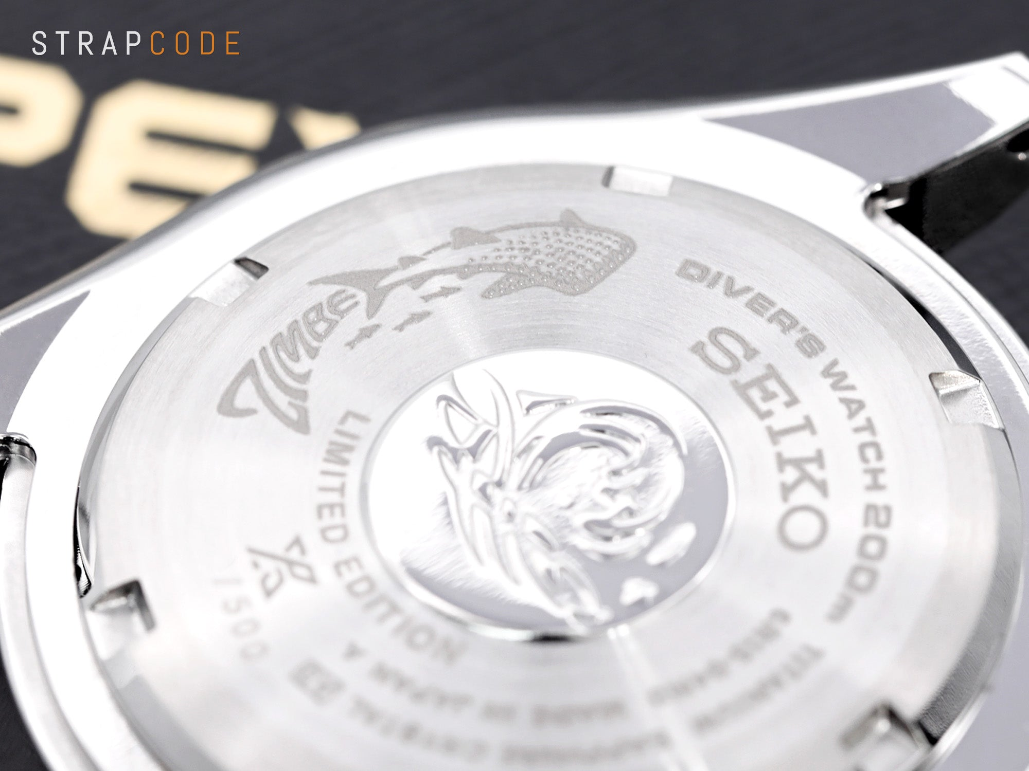 "Seiko Zimbe - Marking ""Limited Edition"" and Zimbe whale shark logo on the back lid of the case."