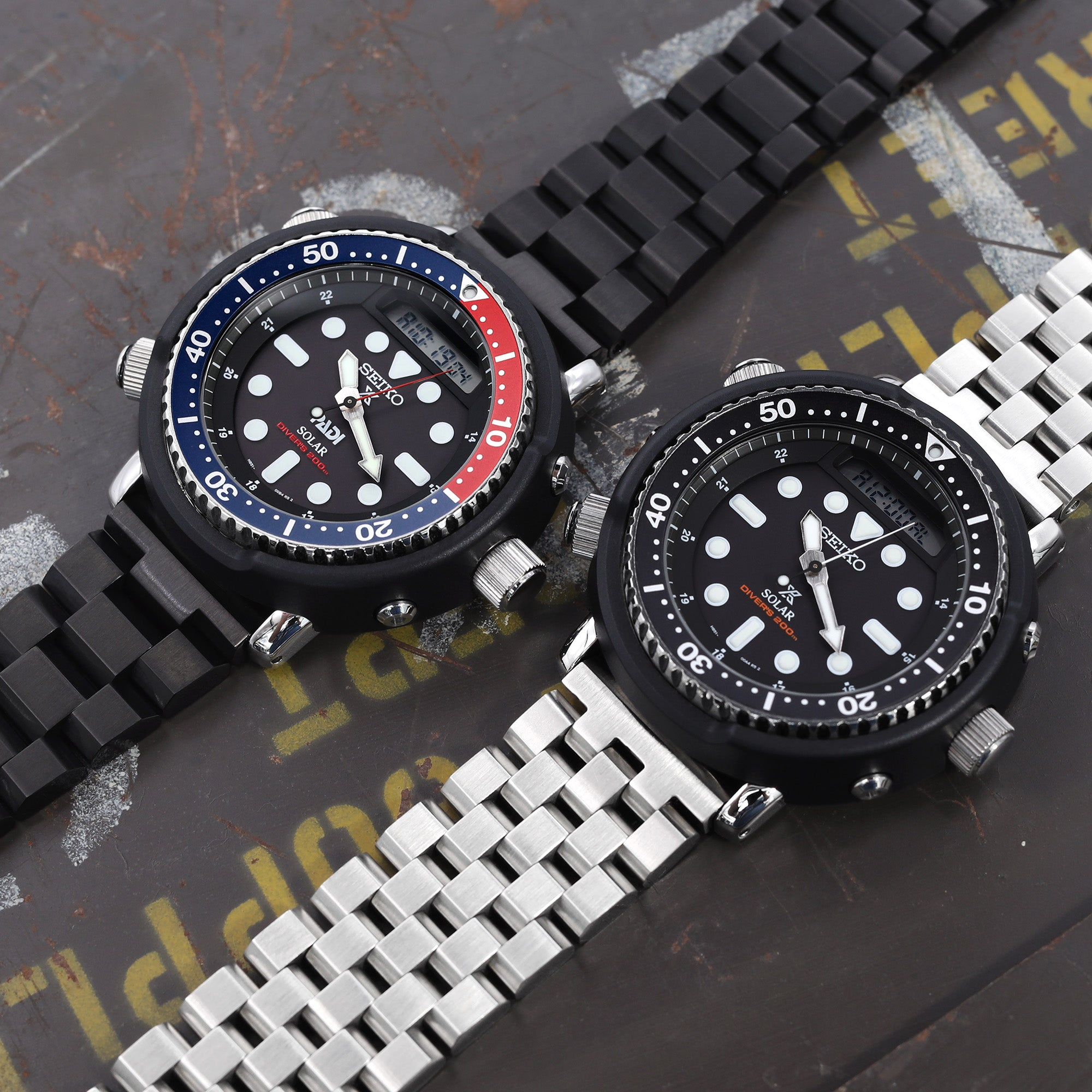 Seiko Solar Hybrid Arnie divers watch bands by Strapcode