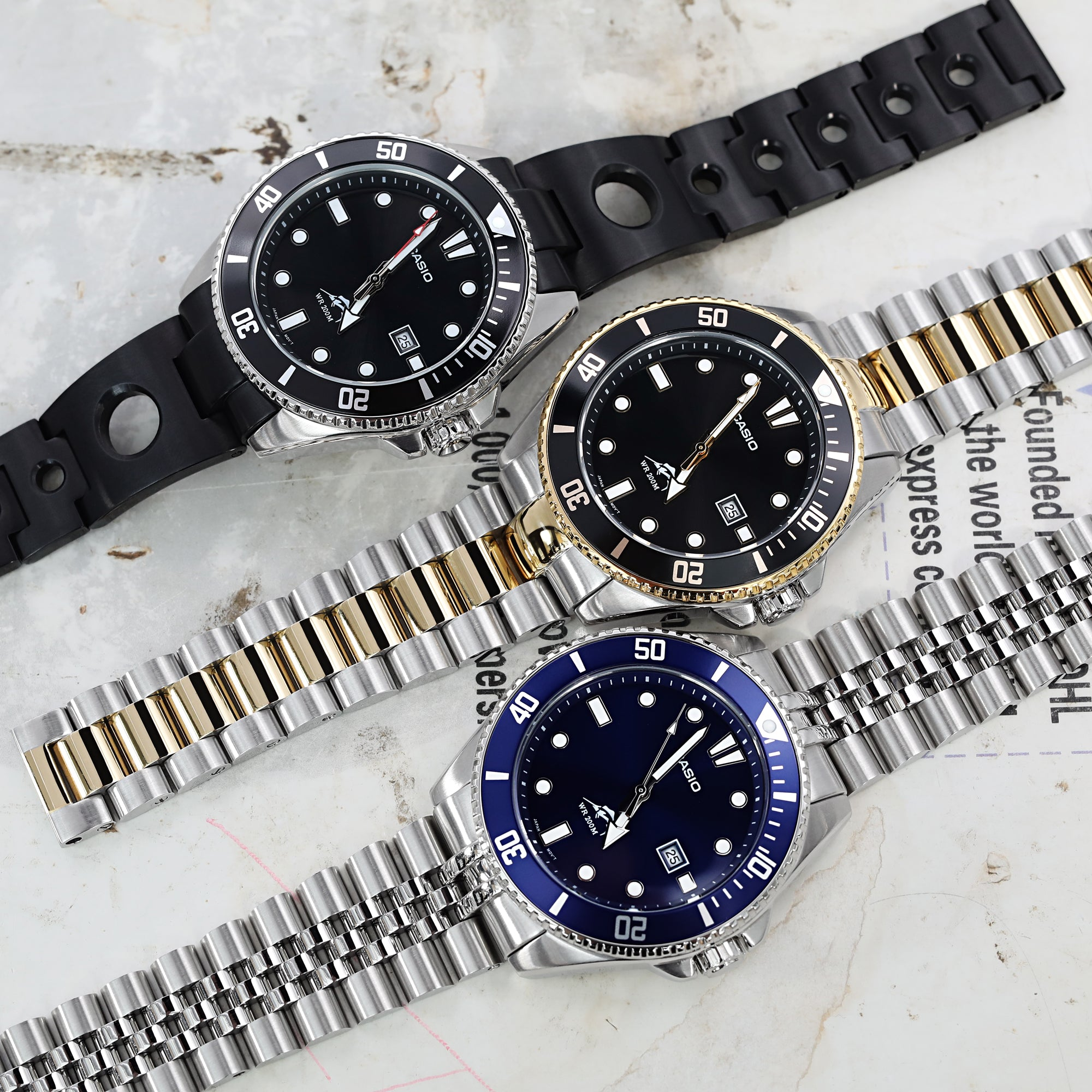 Group of Casio Duro 200mm MDV106 Analog Watches