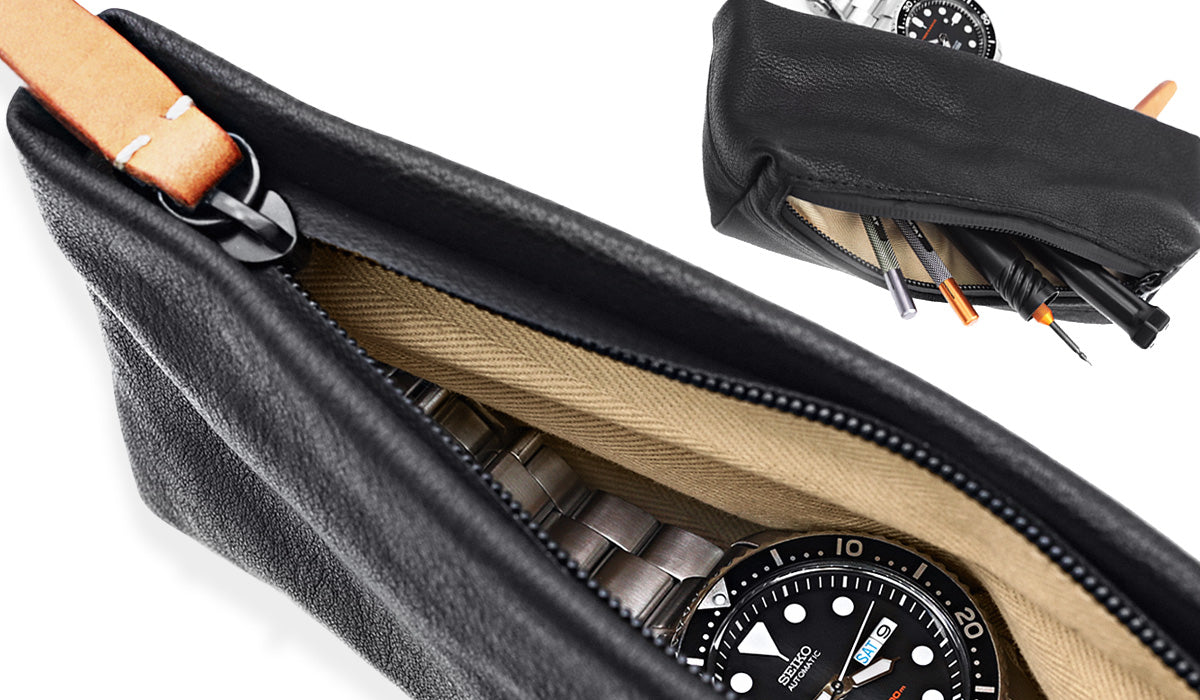 Travel Leather Zipper Watch Pouch | Strapcode watch bands