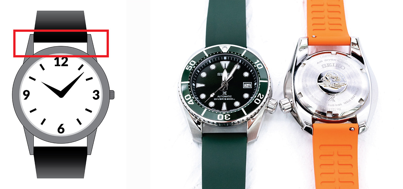 Watch hidden lug compared with Seiko Sumo open lug