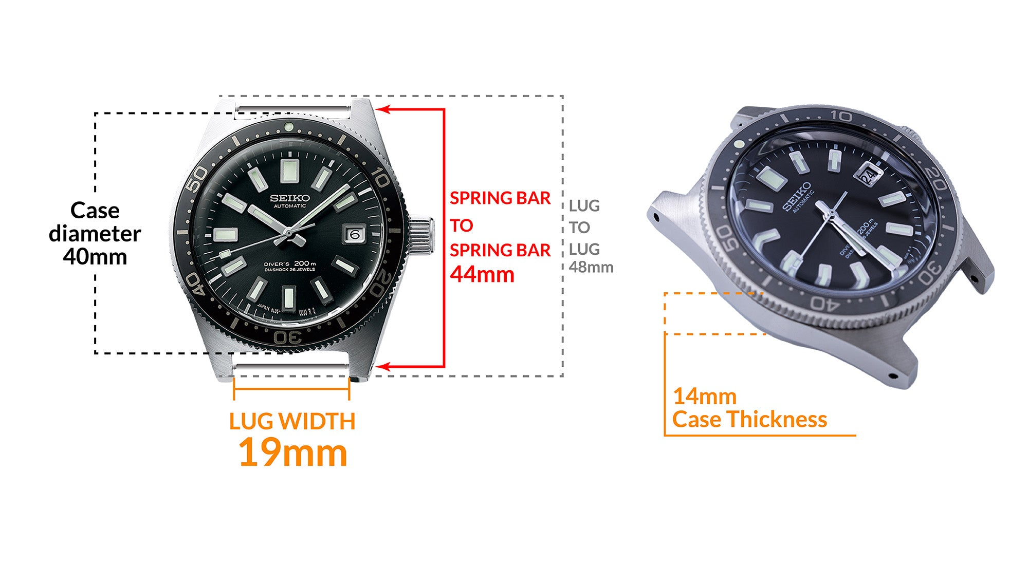 Seiko Prospex Diver SLA017 -  Details Seiko watch size, Lug width and case dimensions