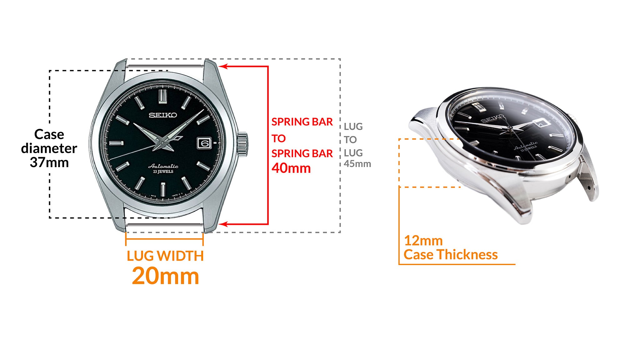 Seiko SARB033 Mechanical - Details Seiko watch size, Lug width and case dimensions