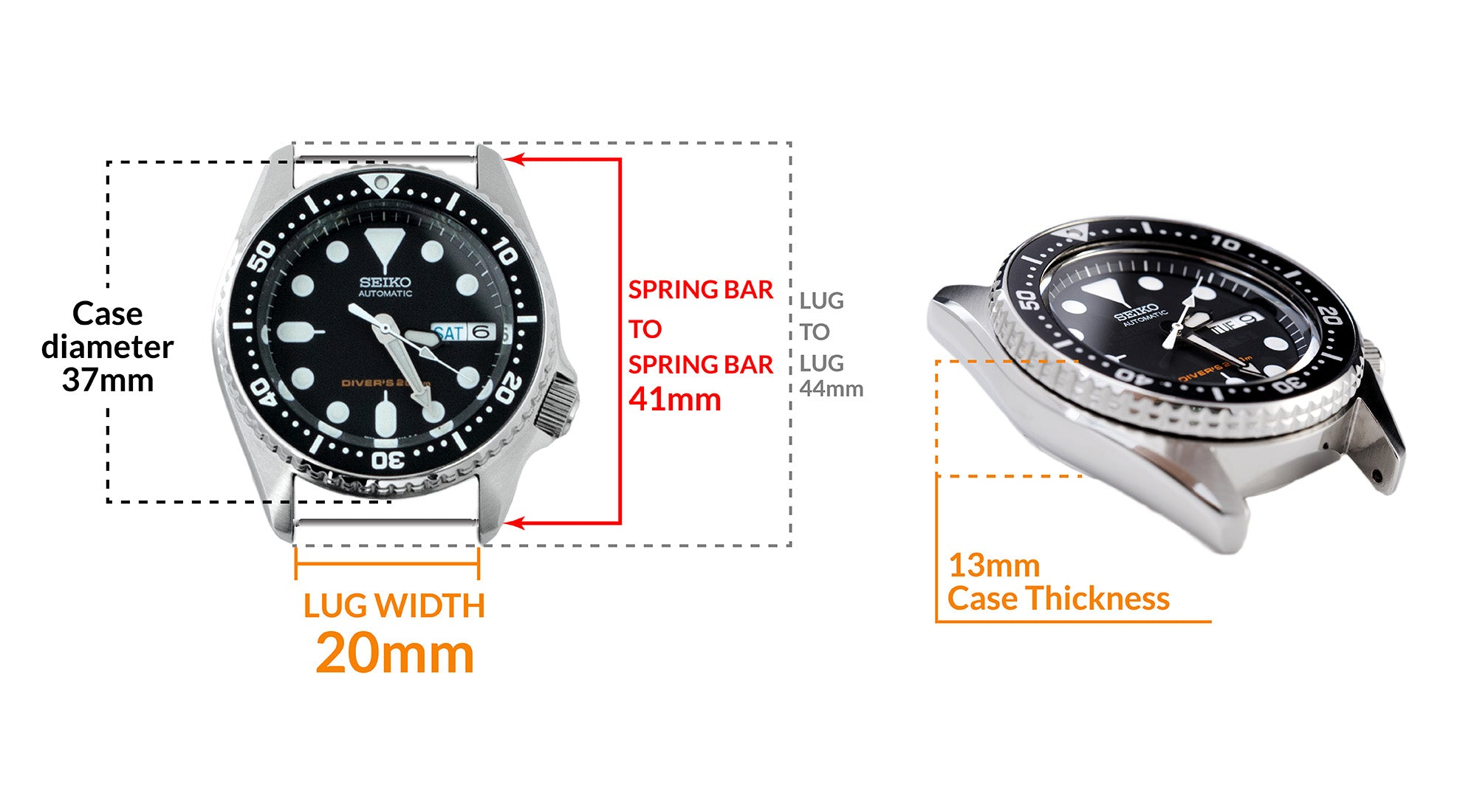 Seiko SKX013 Midsize Diver - Details Seiko watch size, Lug width and case dimensions